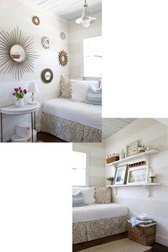 Reading Room Redo | The Lettered Cottage Small Space Living, Small Rooms, Small Spaces, Living Spaces, Striped Room, Striped Walls, Reading Room, Spare Room, My New Room