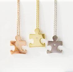 autism puzzle peace necklace, autism necklace, autism jewelry, autism charms, puzzle necklace by LuckyCharmsUSA on Etsy