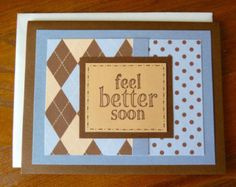 Get Well Card Green and Brown Nice for Men or by KatesCardCompany