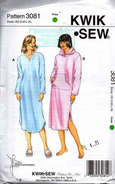 ca5466826a1 Kwik Sew 3081 Womens Pullover Nightgown Optional Hood & Pocket OOP Sewing  Pattern Size XS -