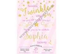 Twinkle Twinkle Little Star Birthday Invitation pink,(5)