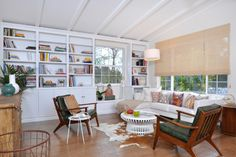 Painted ceiling and wall bookshelves