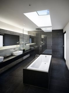 If you can afford the space, this is how to do it in dark with white contrast for modern luxury.
