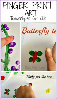Finger print art techniques for kids- make flowers, butterflies, bees, and more, all using different finger prints.