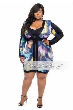 New Plus Size BodyCon Dress with Zip Front inBlue, Pink and Orange