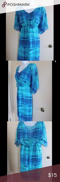 "B. Smart watercolor print dress Gorgeous B. Smart size 16W watercolor print dress.  Flutter sleeves, low v neckline.  Elastic empire waist.  Armpit to armpit 19"", shoulder to shoulder 18"",  waist 18"" length 39.5"".  Fully lined. B. Smart Dresses Midi"
