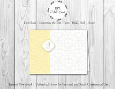 Chic Lemon Floral - DIY Printable Monogram Note Card Template - Add Text, Print, Trim, Fold, Done! Unlimited Personal Prints. MCS.0096 by DIYNotecards on Etsy