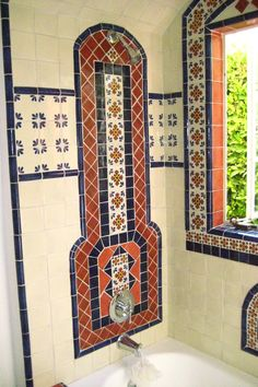 Bathroom using Mexican tiles by kristiblackdesigns.com
