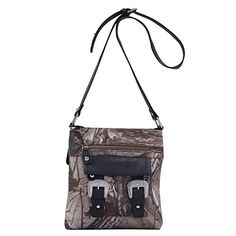 Adjustable shoulder strap Zipper enclosure It features interior zipper pocket & two open pockets and lined with Realtree logo monogram print Two front zipper pockets with bling buckle hardware individ...