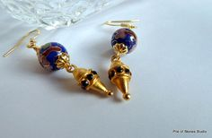 Earrings, Chao-xing, Cobalt Blue, Smooth Vintage Cloisonné, Art Deco Saphire Rhinestone Droplets, Gold Findings, Gorgeous Evening Fashion