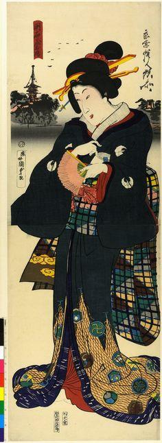 Utagawa Kunisada II (二代歌川国貞) - O-Fusa of the Akashiya, she stands with fan holding lapel of kimono, distant view of Sensoji temple in Asakusa.