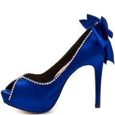 Royal Blue Satin Heels