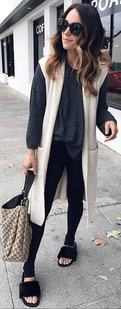 #fall #outfits grey sweater beige sleevless coat fipflops