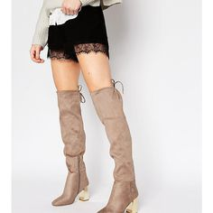New Look Wide Fit Suedette Tie Back Over The Knee Boot With Metal... ($23) ❤ liked on Polyvore featuring shoes, boots, brown, wide fit over the knee boots, motorcycle boots, thigh high heel boots, wide over the knee boots and wide width over the knee boots