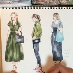携帯カメラスタンドを購入したので初タイムプラス 緊張して沢山描き直したけどタイムプラスだと一瞬で終わる... #illustration #illust #illustrator #watercolor #art #draw #fashion #fashiongirls #miyamaayumi #ミヤマアユミ #イラスト #ファッションガールズ #水彩
