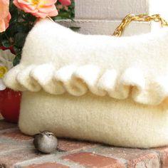 White Ruffle, Felted Purse Pattern, Knit Bag Pattern, Felted Purse, Knitted Purse, Knitting Pattern, Instant Download, PDF