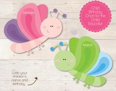 Busy Little Bugs Butterlies Birthday Chart