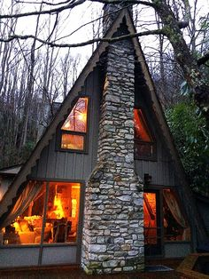 Architecture Homes Wood A Frame Cabin in Boone, NC Cabins In The Woods, House In The Woods, Cabin Homes, Log Homes, Cute House, Tiny House, Cabins And Cottages, Beautiful Homes, Villa