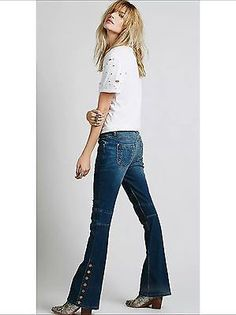 New $128 Free People Seamed Denim Flare Jeans Crate Blue SIZE 28