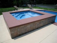 fiberglass pool deck modular small swim spa | Photo: Here's a beautiful Fiberglass Spa with a darker colored ...