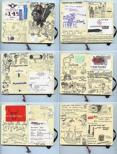 journal drawings on moleskin