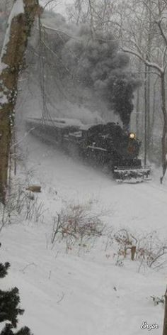 Train in Snow Train Tracks, Train Rides, Foto Glamour, Winter Szenen, Beautiful Places, Beautiful Pictures, Old Trains, Nyc Subway, Snow Scenes