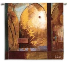 "Exotic Journey Floral Contemporary Wall Hanging by Don Li Leger 53"" x 53"" #Contemporary #Modern #Art #Home #Decor #BeddingNMore"