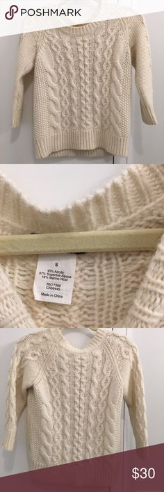 Jcrew cable knit sweater S Cream jcrew sweater. 3/4 length sleeves J. Crew Tops