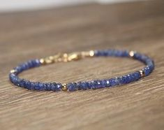 September Birthstone Custom Sundance Style Wire Wrapped Ombre Jewelry Gift Blue Pink Yellow Sapphire Gold Colorful Stacking Dainty Bracelet