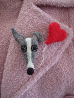 Valentine Needle Felted Greyhound & Heart Pin by SamsFurKids, $35.00