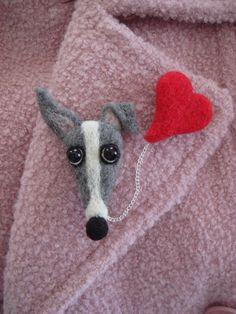 Valentine Needle Felted Greyhound & Heart Pin by SamsFurKids, $35.00