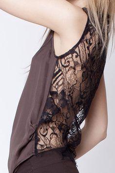 Secret Pal silk top of dark brown lace