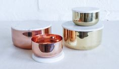 Metal Bowl with Marble Lid - copper