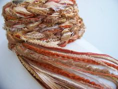 Crochet Scarf..Rust, paprika, metallic gold, light orange by Sewstacy, $20.00