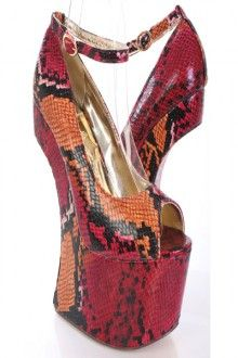 Multi Snake Skin Print Peep Toe Curved Wedges