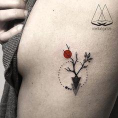 small abstract tattoo, tree