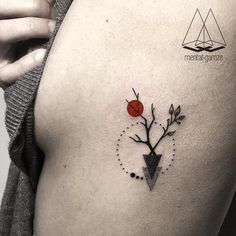 small abstract tattoo, tree