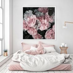 Featuring a beautiful scene of pink feminine flowers, this canvas print was originally hand painted by our in-house artist team, and now available as a reproduction stretched and ready-to-hang canvas art piece. Size & frame colour options available. We ship worldwide. #ThePrintEmporium #botanical #floral #art #canvas #print #roses #wallart #floralart #pink #moody www.theprintemporium.com.au