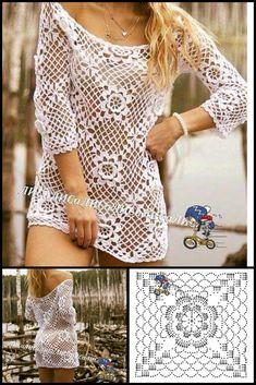 Crochet Tank Tops, Crochet Tunic, Love Crochet, Crochet Clothes, Crochet Vests, Shawl Patterns, Crochet Patterns, Crochet Stitches, Crochet Edgings
