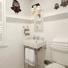 like the penny round band - Off White Subway Tile Bathroom Design, Pictures, Remodel, Decor and Ideas - page 2