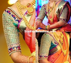 Hand Embroidered Blouse for Wedding Silk Sarees photo