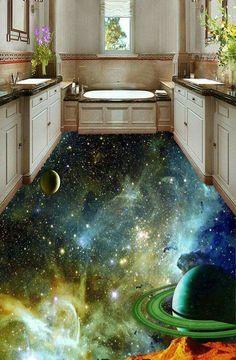 Banheiro decorado com piso 3D...