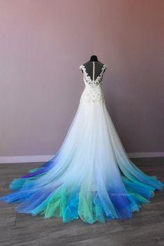 Dresses — Colorful Ombré Wedding Gowns - Shop — Canvas Bridal Ombre Wedding Dress, Aqua Wedding, Dresses To Wear To A Wedding, Wedding Dress Shopping, Prom Dresses, Colored Wedding Gowns, Formal Dresses, Wedding Bride, Evening Dresses
