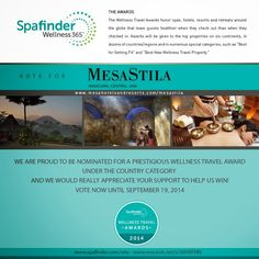 Healthy Living & Wellness Experiences - MesaStila: VOTE MESASTILA ON Spafinder.com Wellness Travel Aw...
