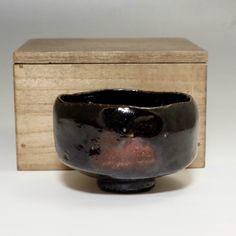 Raku Chawan - Small Antique Black Japanese Pottery Tea Bowl #1991 - ChanoYu online shop