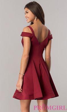 Image of short a-line cold-shoulder homecoming dress. Style: DJ-A6109 Back Image