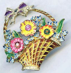 1940's Coro Craft Sterling Enamel Rhinestone Flower Floral Basket Brooch