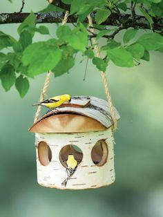 Natural Birch Log Bird Feeder has Woodland Charm