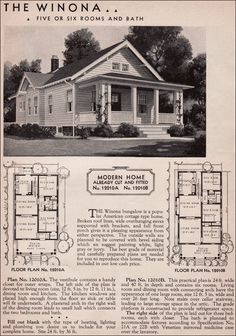 1936 Winona Kit Home - Sears Roebuck - 20th Century American Residential Architecture - Small Bungalow House Plan.