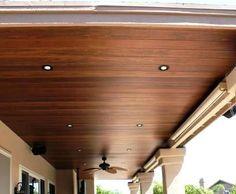 Wood Patio Ceiling - love this! Patio Ceiling Ideas, Under Deck Ceiling, Pvc Ceiling Design, Porch Ceiling, Home Ceiling, Flagstone Patio, Wood Patio, Patio Roof, Concrete Patio